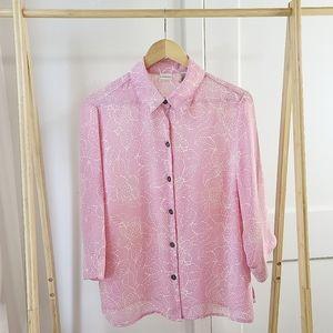 Pink Floral Blouse Covington Chiffon Silky